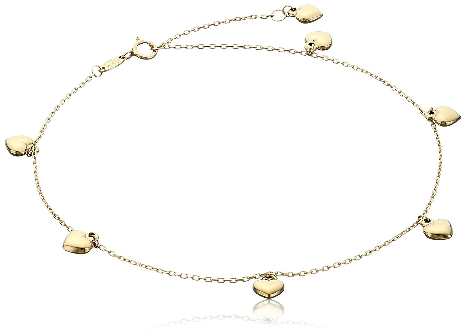 14k Yellow Gold Puffy Heart Charms Rolo Chain Adjustable Anklet, 9' + 1' Extender