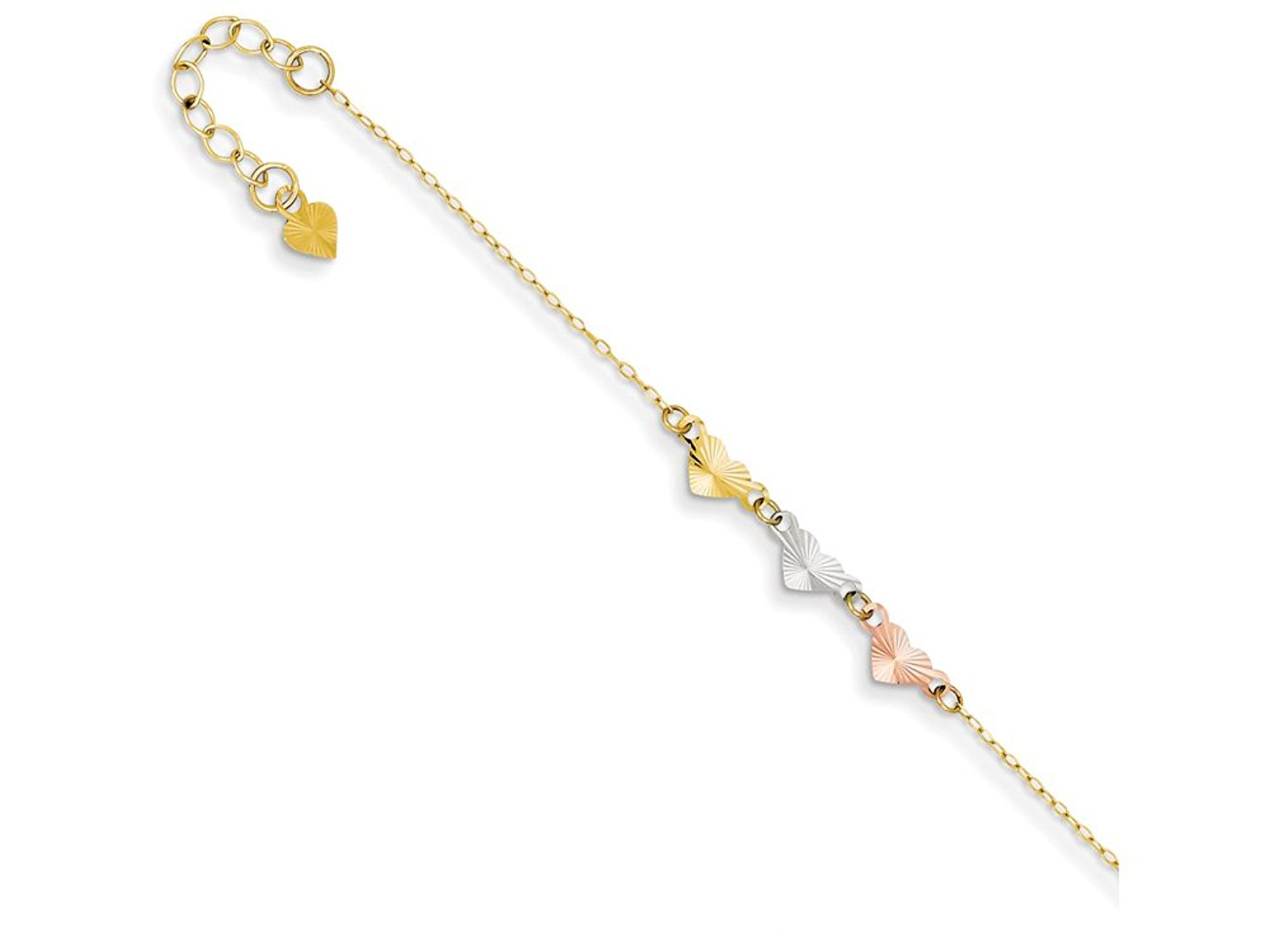 9 Inch 14k Tri-color Adjustable Heart Anklet (Smaller Ankles)