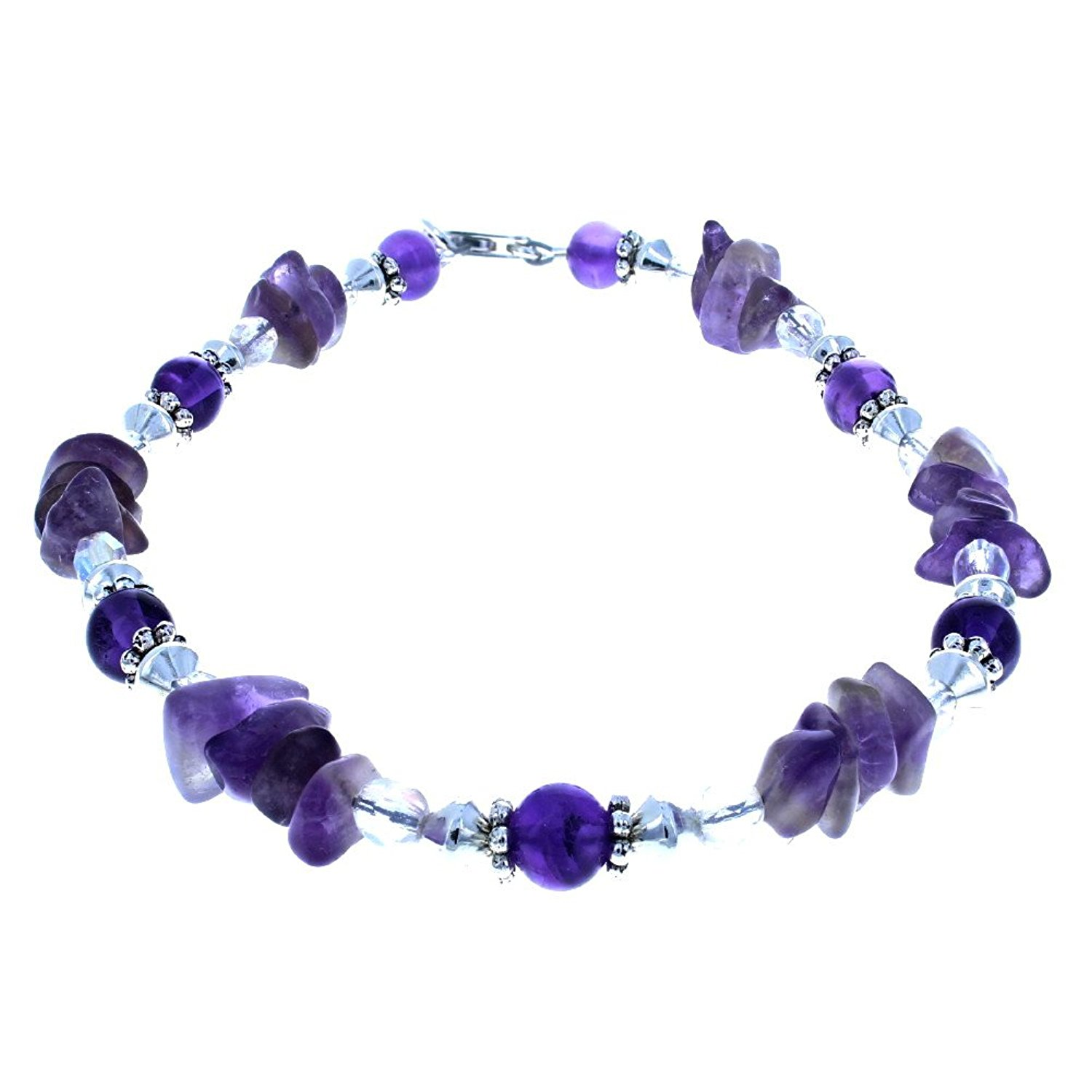 Womens Amethyst, Czech Fire Polished Glass & Sterling Silver Beaded Gemstone Anklet w/ Daisies