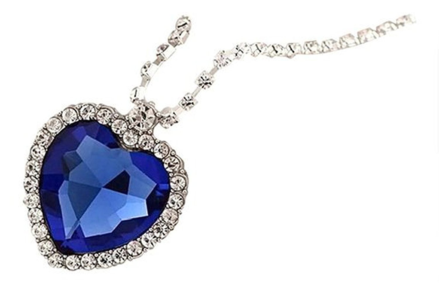 Ladies Fashion Royal Blue Heart of Ocean Titanic Pendants Sapphire Crystal Necklace for Women