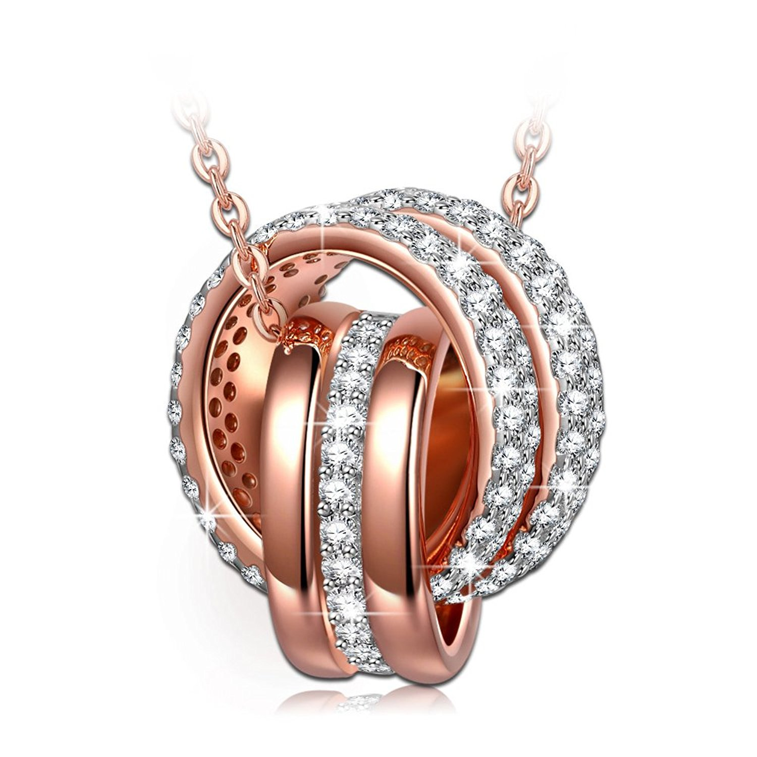 NINASUN 'Always with You' 925 Sterling Silver Rose Gold Dangle Pendant Necklace AAA CZ Jewelry for Women
