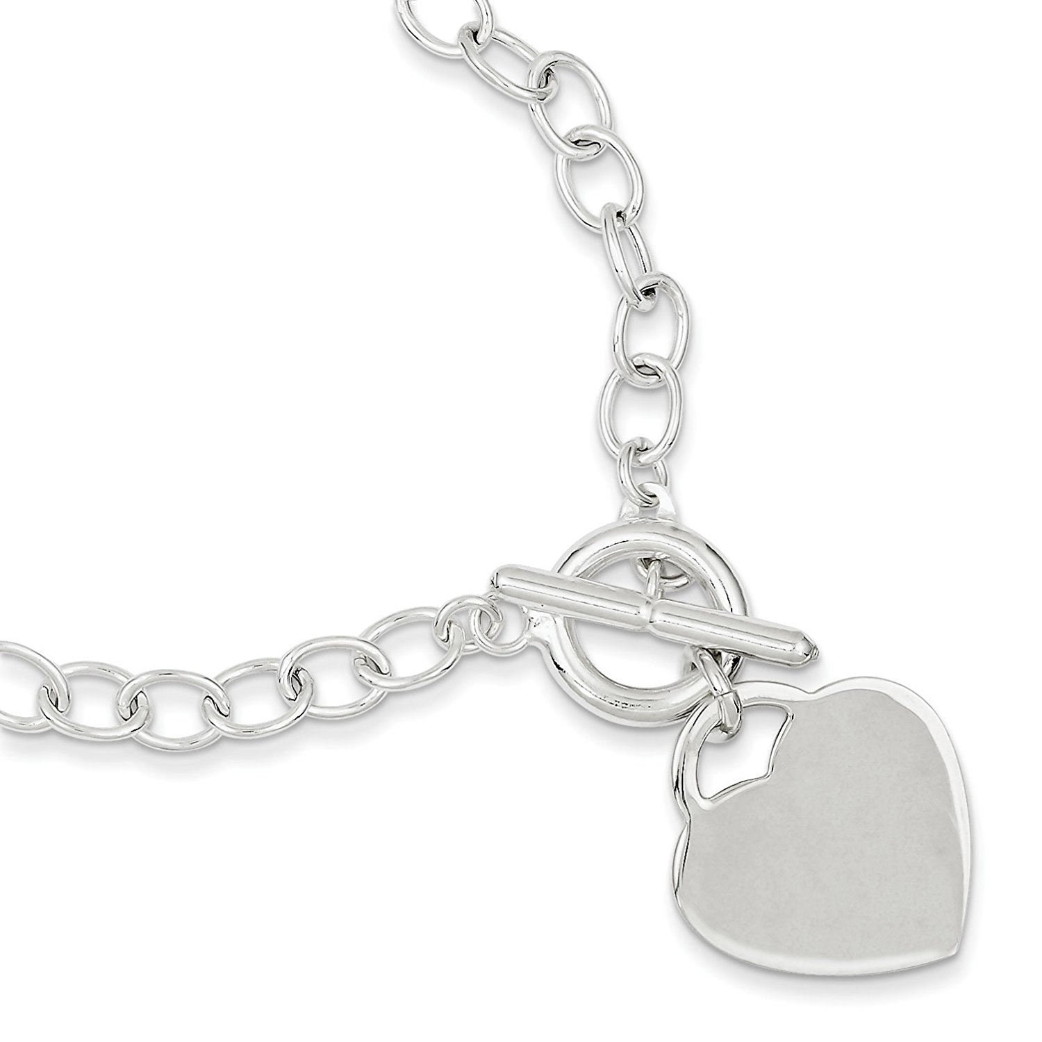 Sterling Silver Oval Link Heart Bracelet - 7.5 Inches Long