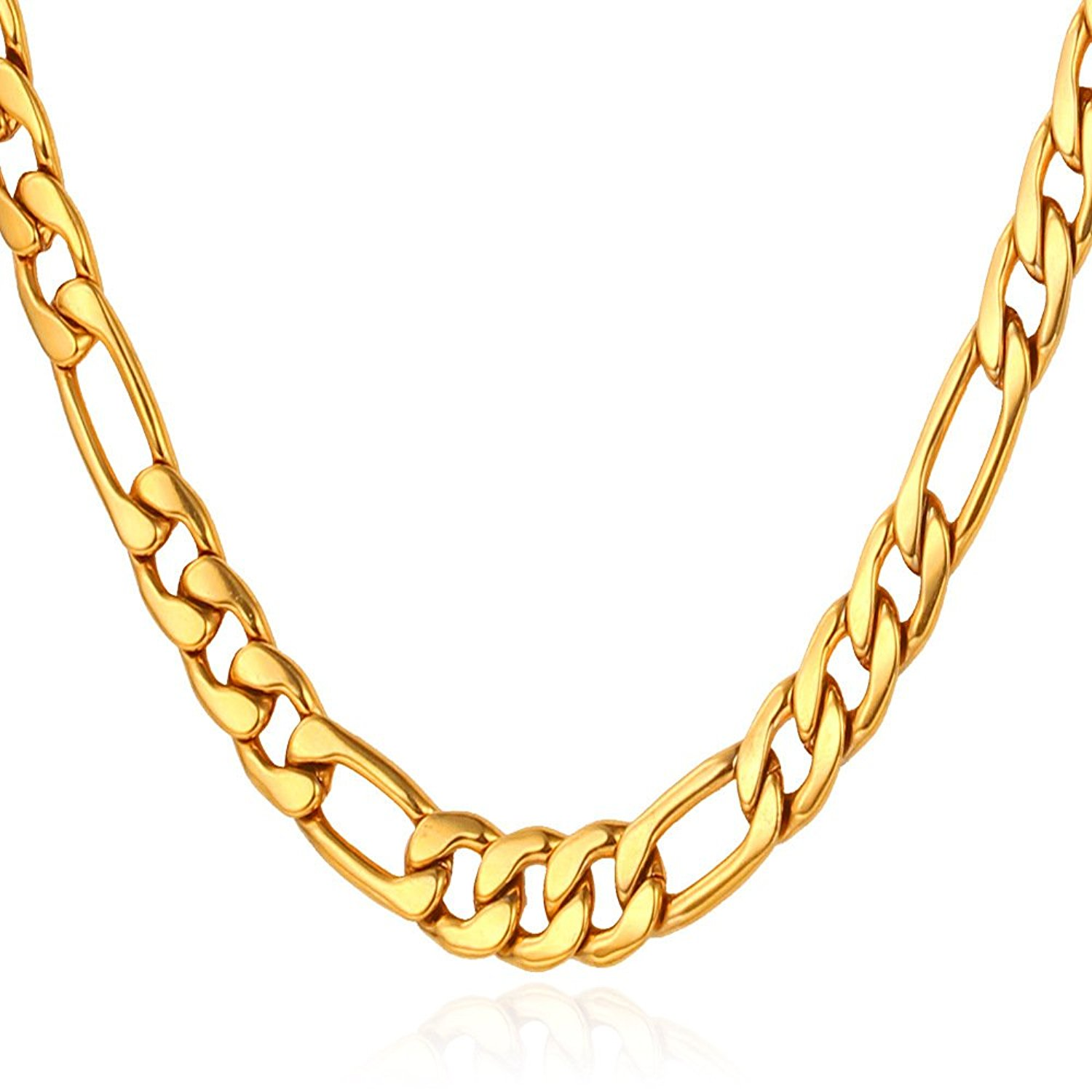 U7 Stainless Steel Chain 5MM Men Women Necklace Figaro Chain Length 18-30 Inch