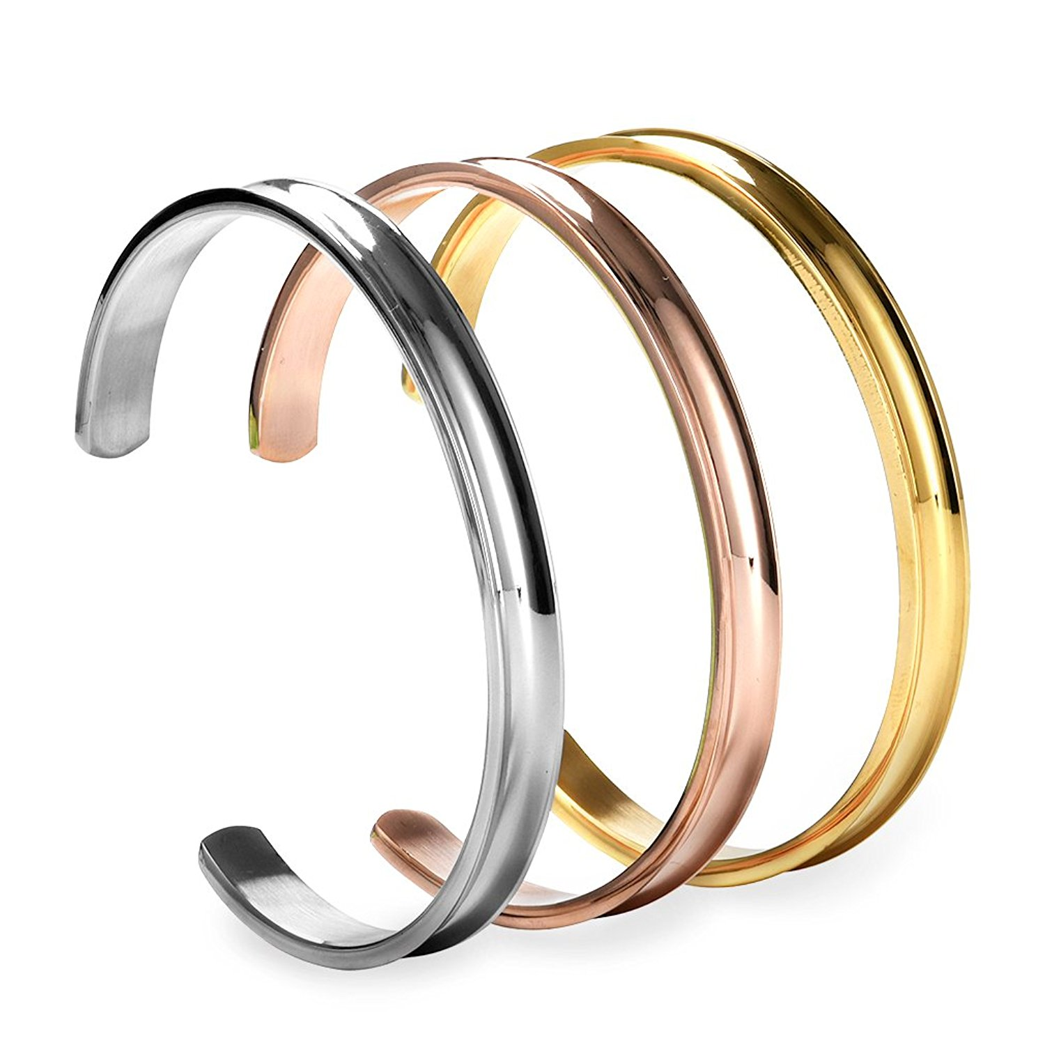 COCOStyle Stainless Steel Bracelet 3 Colors, Grooved Cuff Bangle for Women Girls