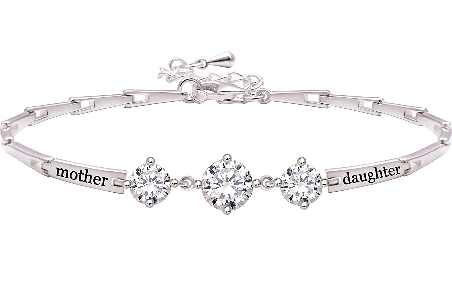 ALOV Jewelry Sterling Silver 'mother daughter' Cubic Zirconia Bracelet