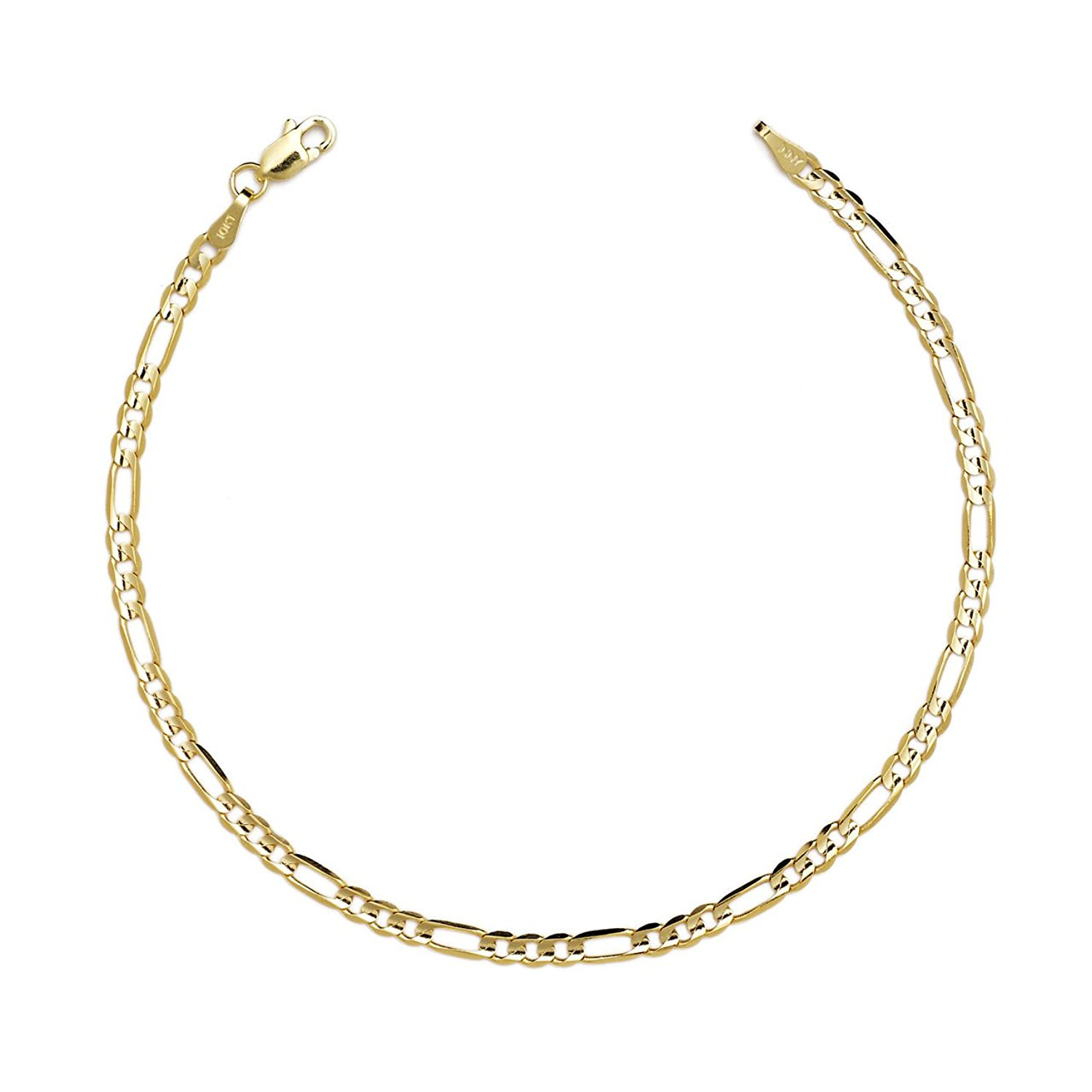 14k Fine Gold Hollow Figaro Chain Bracelet, 0.13 Inch (3.2mm)