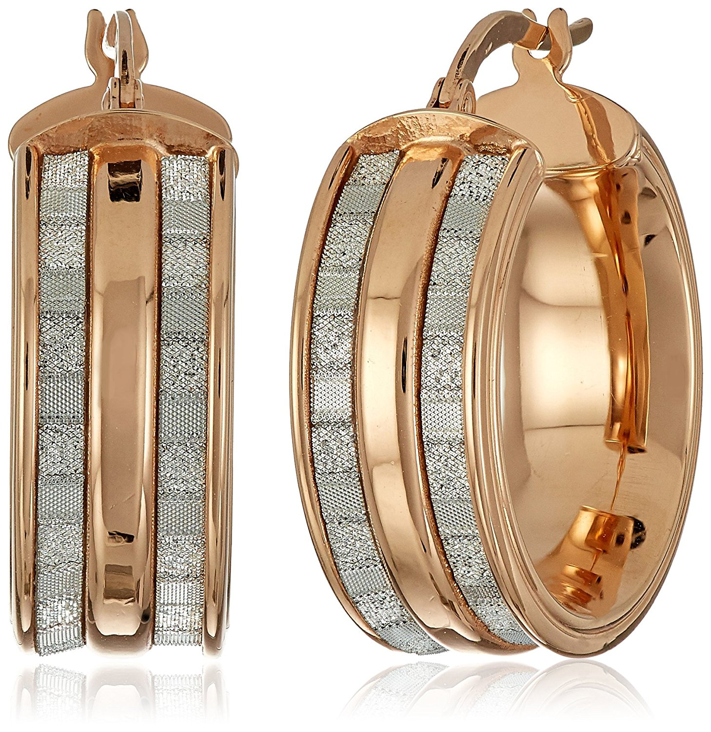 14k Gold Italian Wide Hoop Earrings with Dual Baguette Style Glitter Strips Hoop Earrings