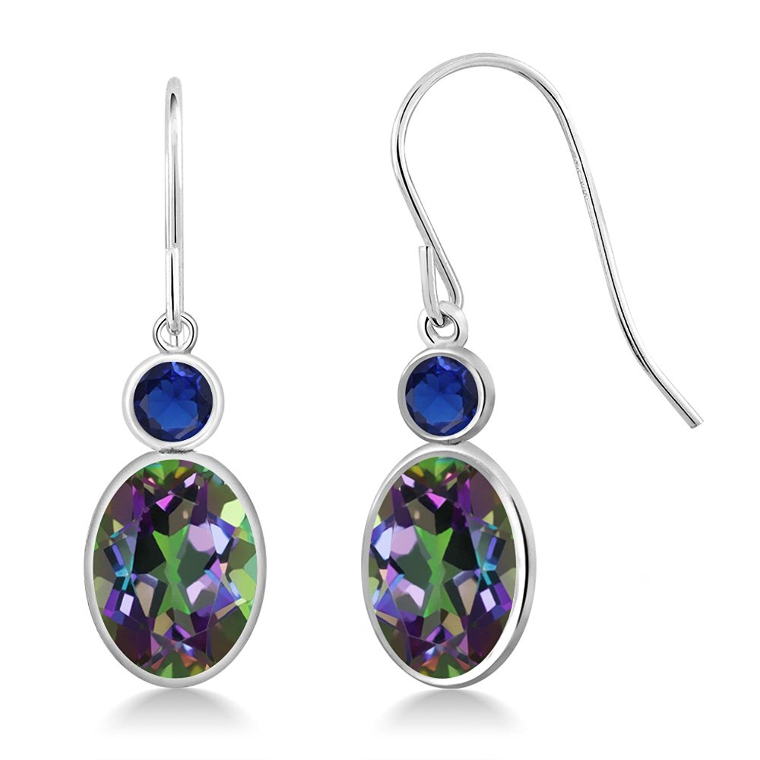 2.86 Ct Oval Green Mystic Topaz Blue Simulated Sapphire 14K White Gold Earrings