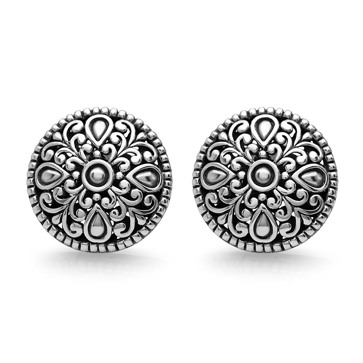 925 Oxidized Sterling Silver 15 mm Detailed Filigree Mandala Bali Inspired Round Post Stud Earrings