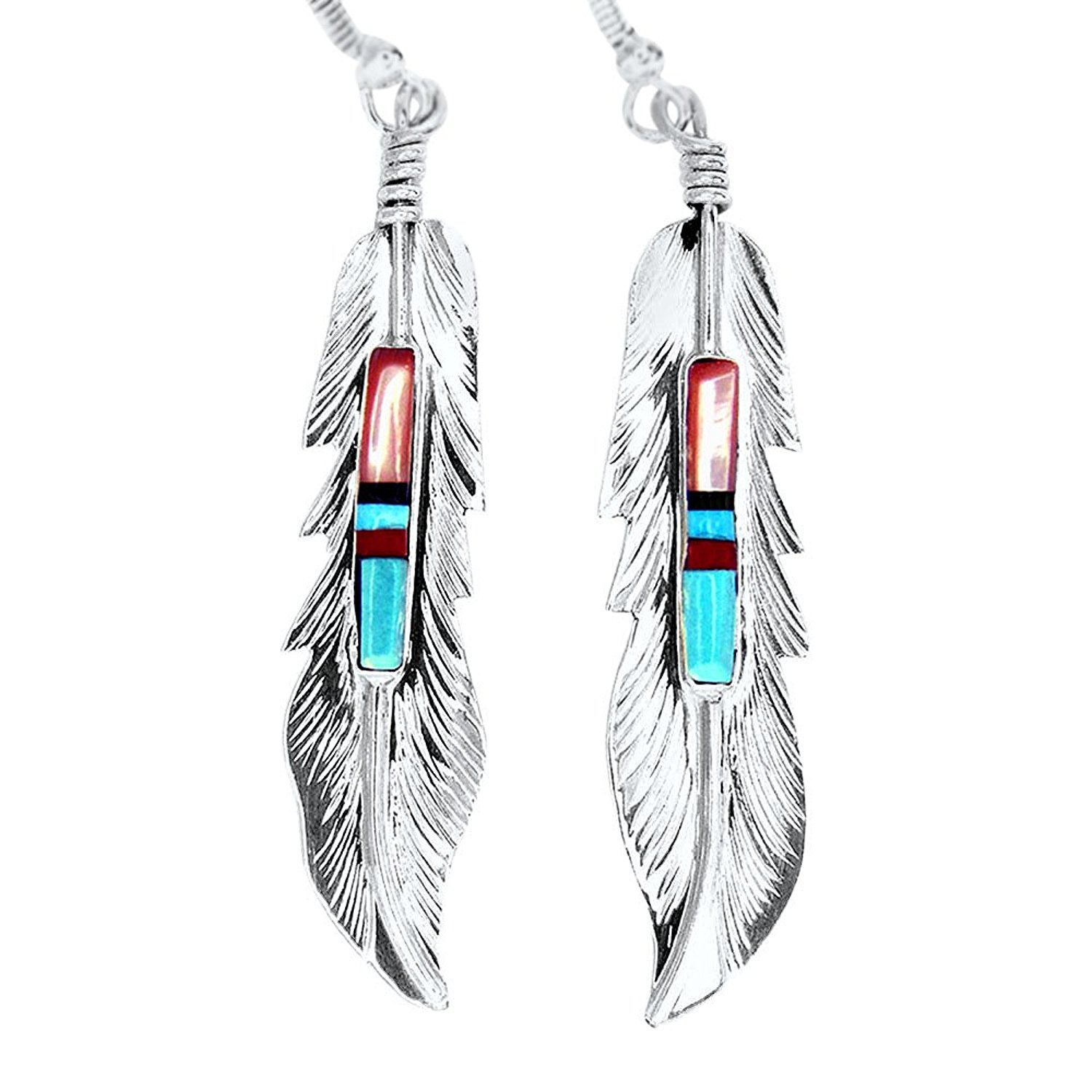 USA Made!!! BY Navajo Artist Freddy Barney: Hand crafted Sterling silver & treated Natural stones earrings