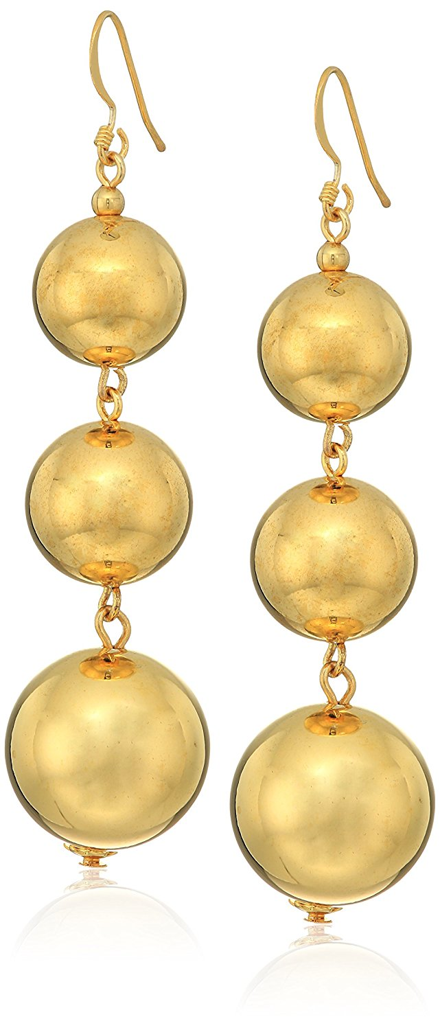 Kenneth Jay Lane Polished Gold-Tone 3 Ball Drop Earrings