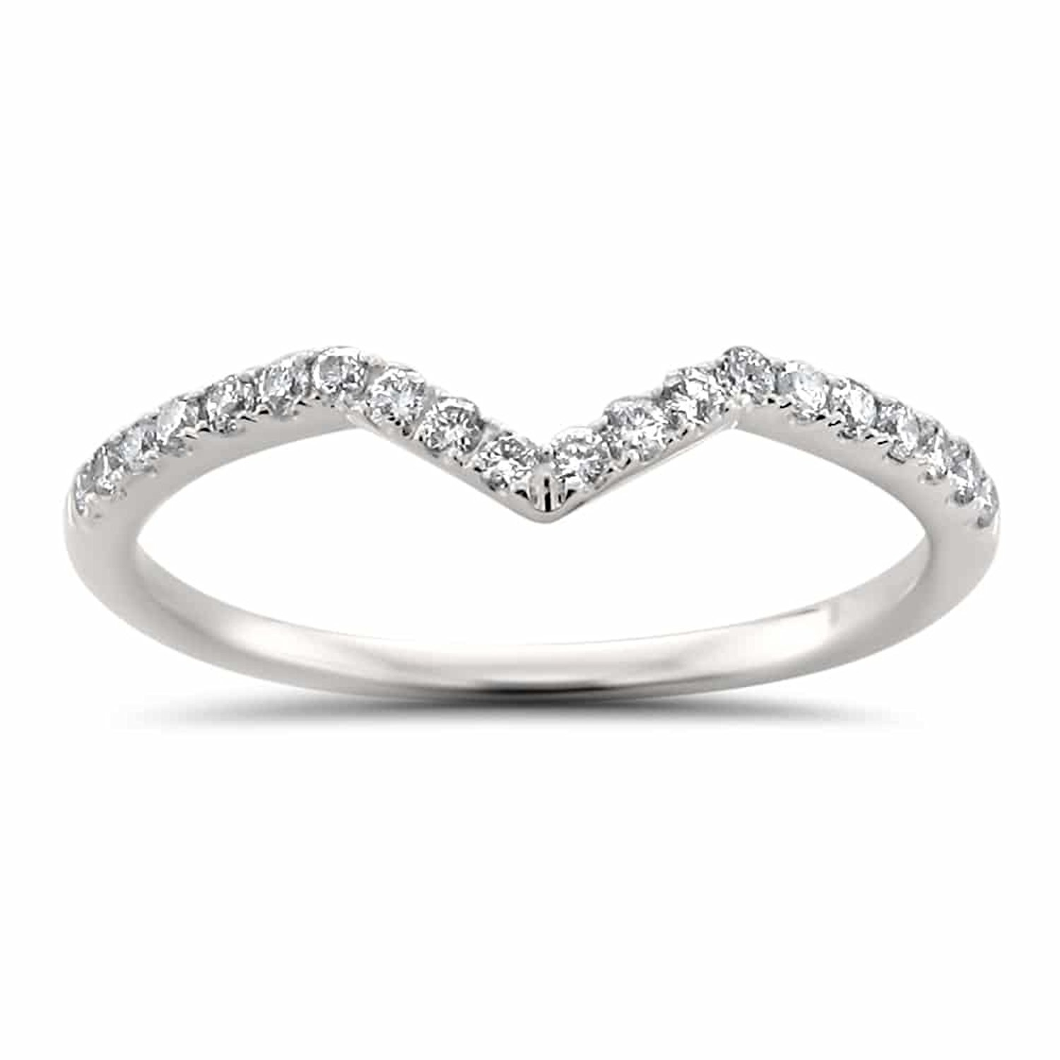 14k White Gold Round Diamond V Shape Chevron Stackable Wedding Band (1/5 cttw, H-I, I2-I3)