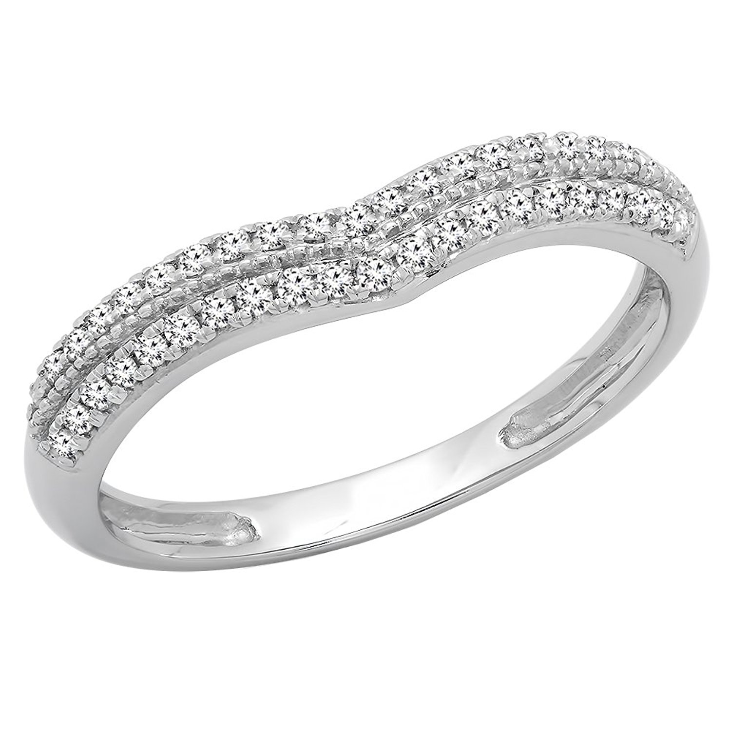 0.25 Carat (ctw) 10K Gold Round White Diamond Double Row Curved Wedding Band 1/4 CT