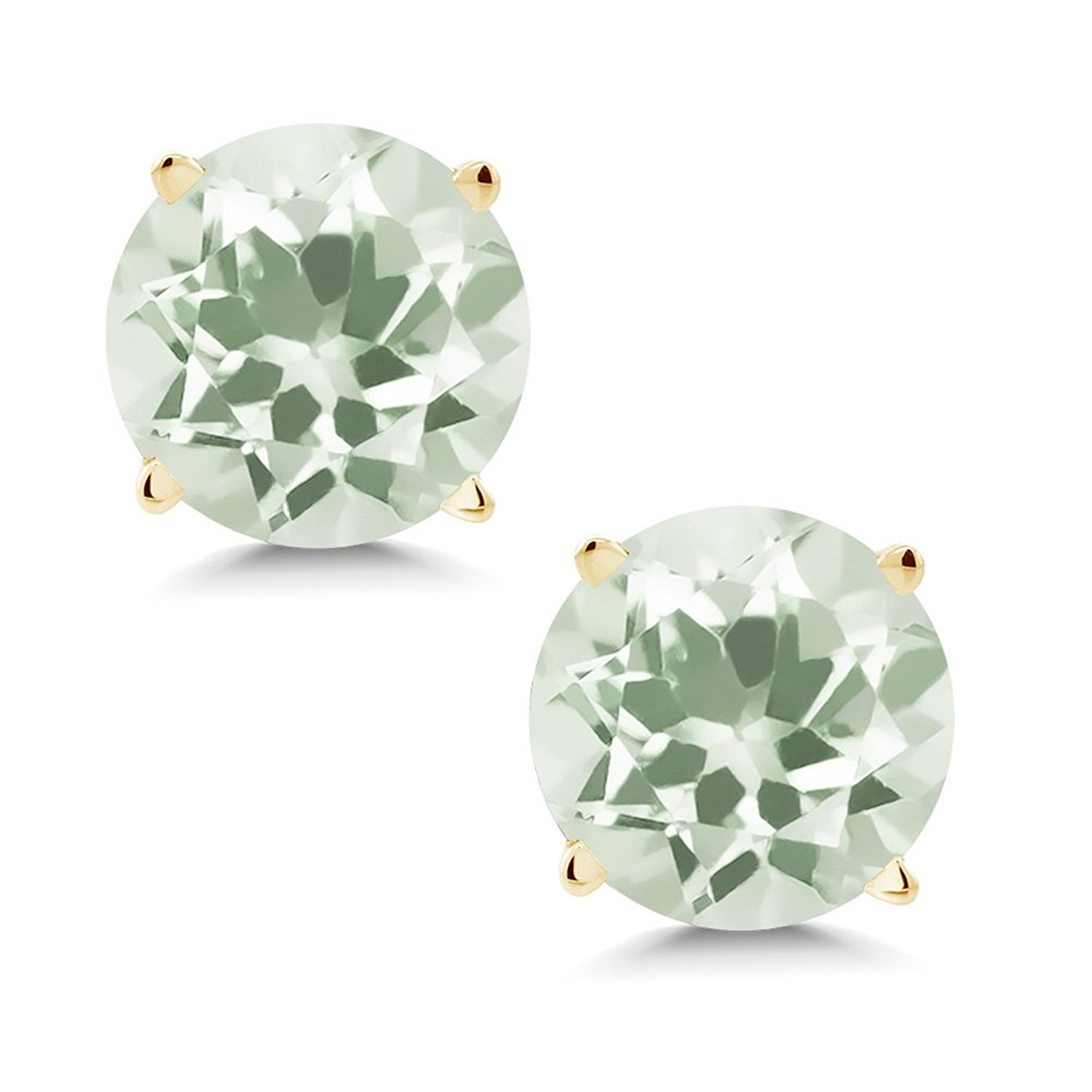 1.90 Ct Round 6mm Green Amethyst 14K Yellow Gold Stud Earrings