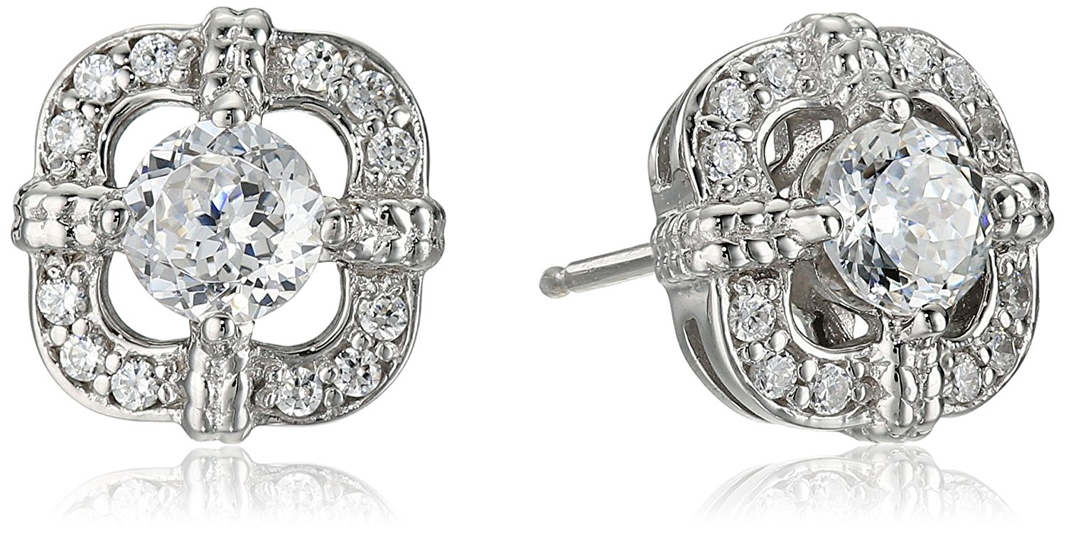 Platinum Plated Sterling Silver Swarovski Zirconia Antique Frame Halo Stud Earrings