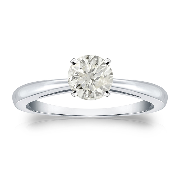 Auriya Platinum 1/2ct TDW Round Diamond Solitaire Engagement Ring