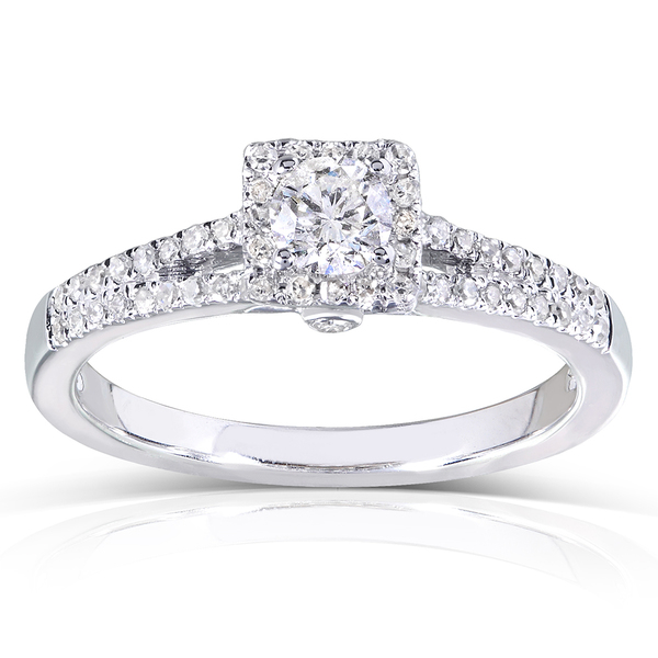 Annello by Kobelli 14k White Gold 1/3ct TDW Round-cut Diamond Promise Ring