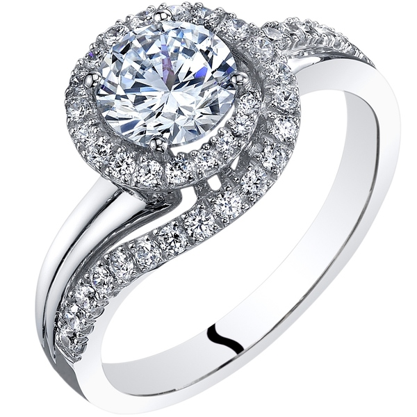 Oravo 14K White Gold Cubic Zirconia Engagement Ring 1.00 Carat Bypass Style