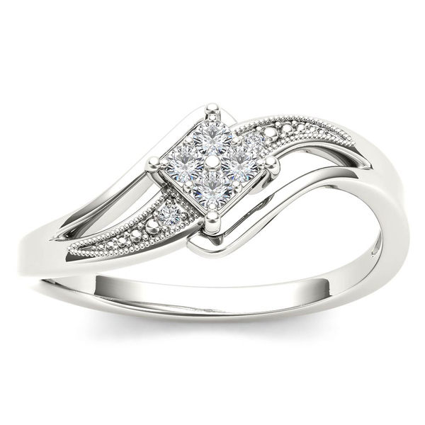 De Couer 10k White Gold 1/10ct TDW Diamond Bypass Engagement Ring - White H-I