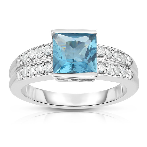 14K White Gold Princess Cut Gemstone & Round Diamond (0.25 Ct, G-H Color, I1-I2 Clarity) Ring
