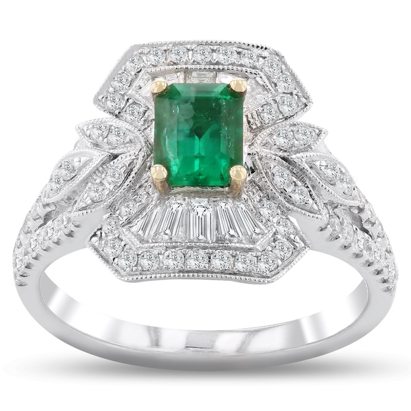 Auriya 18k White Gold 5/8ct Emerald and 3/4ct TDW Diamond Ring
