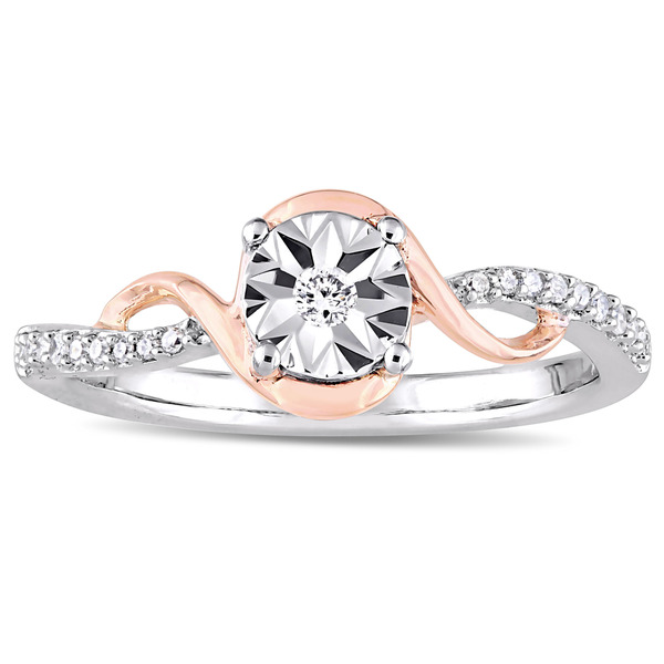 Miadora 2-Tone 10k White and Rose Gold 1/10ct TDW Diamond Crossover Twist Engagement Ring