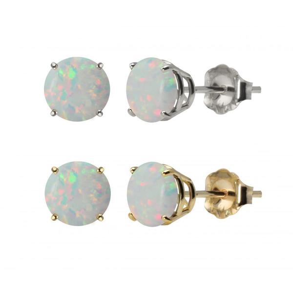 10k White Gold or Yellow Gold 8mm Round Created Opal Stud Earrings