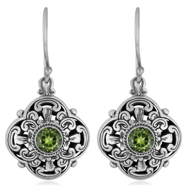 Handmade Sterling Silver Peridot 'Floral Cawi' Dangle Earrings (Indonesia)