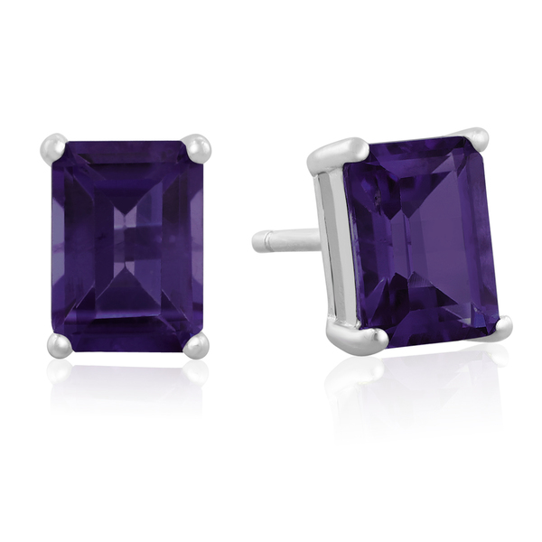 3 TGW Emerald Cut Amethyst Earrings In Sterling Silver