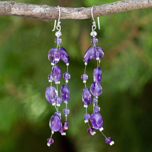 Handmade 'Plum Drops' Amethyst Earrings (Thailand)'