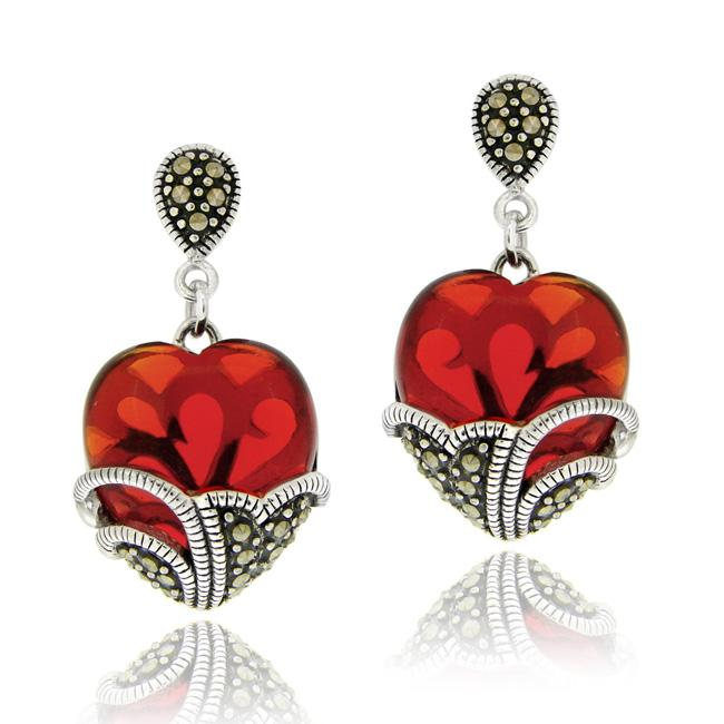 Glitzy Rocks Sterling Silver Red Glass and Marcasite Heart Dangle Earrings