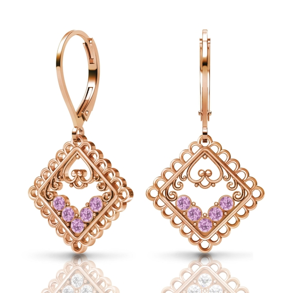 Sterling Silver Earrings by Lucia Costin Light-Amethyst Swarovski Element Crystals
