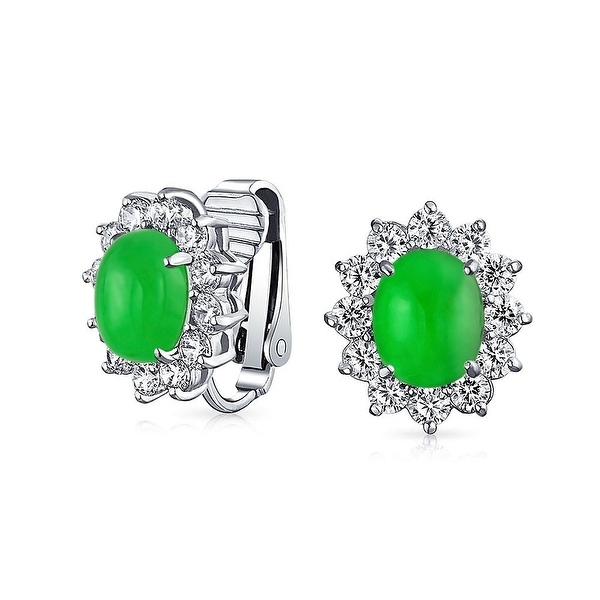 Bling Jewelry Oval Imitation Jade Clip On Stud CZ Earrings Rhodium Plated Brass - Green