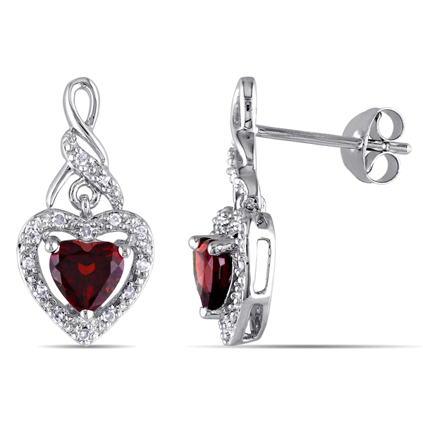 Miadora Sterling Silver 1/8ct TDW Diamond and Garnet Heart Earrings (G-H, I2-I3)
