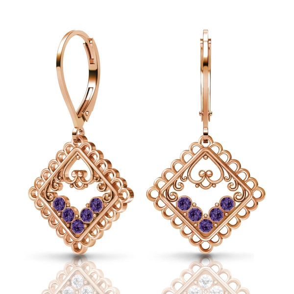 Sterling Silver Earrings by Lucia Costin Purple-Velvet Swarovski Element Crystals
