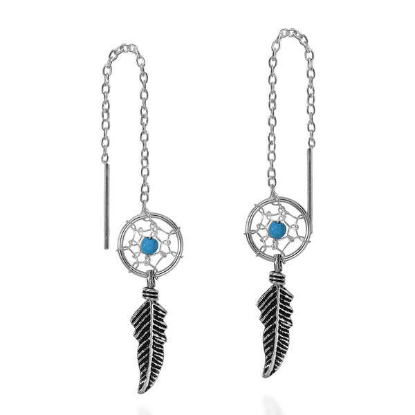 Handmade Dreamcatcher Stone Thread Slide .925 Silver Earrings (Thailand)