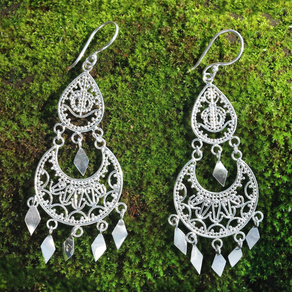 Handcrafted Sterling Silver 'Illusion' Earrings (Indonesia)