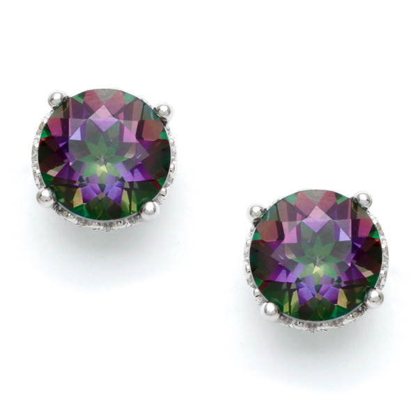 Silvermoon Sterling Silver Mystic Topaz Stud Earrings