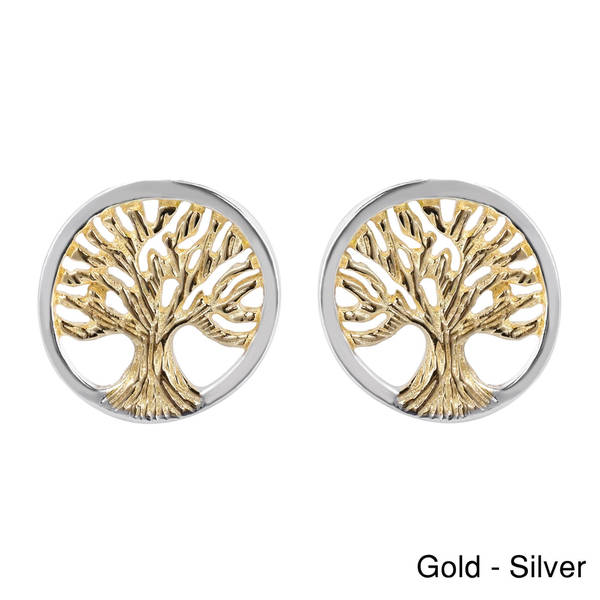 Handmade Tree of Life Gold Vermeil Over .925 Silver Post Earrings (Thailand)