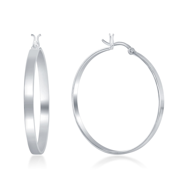 La Preciosa Sterling Silver Italian High Polished 'Silver - Rose Gold- Gold' 4MM X 40MM Hoop Earring