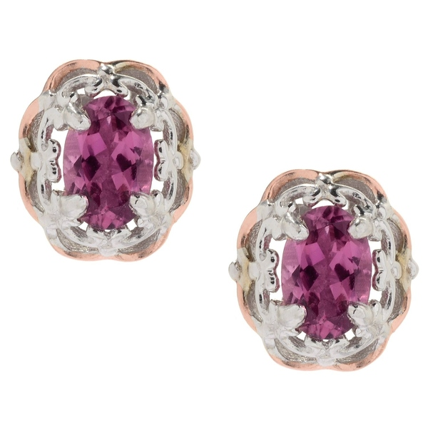 Michael Valitutti Palladium Silver Exotic Pink Tourmaline Flower Stud Earrings