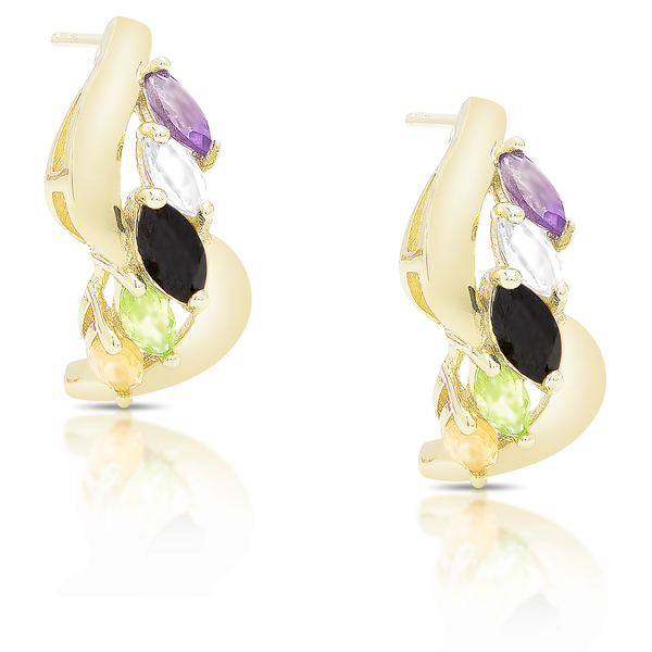Dolce Giavonna Gold Over Sterling Silver Multi Gemstone Drop Stud Earrings