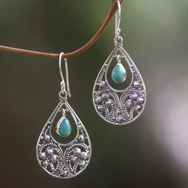 Sterling Silver 'Bali Crest' Turquoise Earrings (Indonesia)