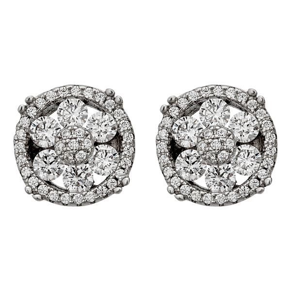 Decadence Sterling Silver Micropave Flower Stud Earrings
