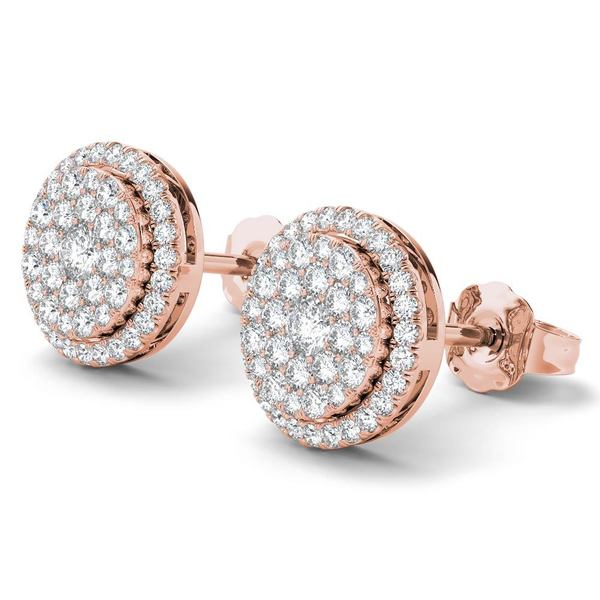 De Couer 14K Rose Gold 1/2ct TDW Diamond Halo Earrings - Pink