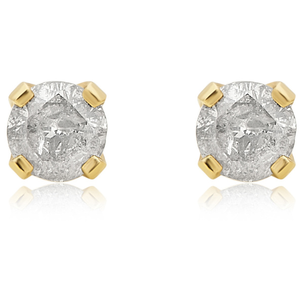 Divina 14K Yellow Gold 1/4ct TDW Diamond Stud Earring. (J-L/I2-I3)