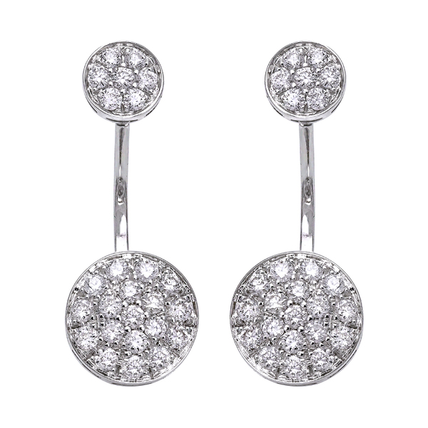 14k White Gold 1ct TDW Diamond Behind The Ear Floating Jacket Earrings Set
