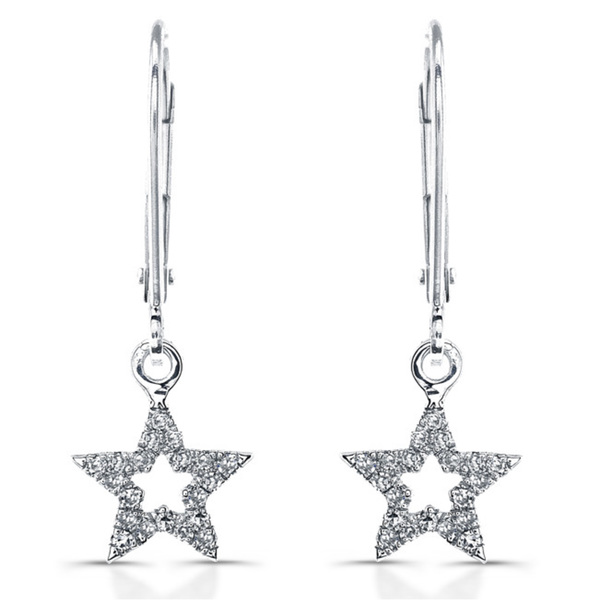 14k White Gold 1/8ct TDW Diamond Dangling Star Earrings (J-K, I2-I3)