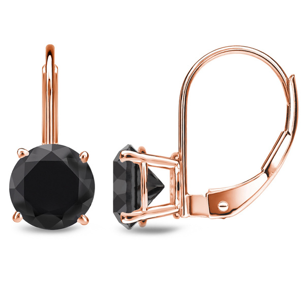 Auriya 14k Rose Gold Black Diamond Leverback Stud Earrings