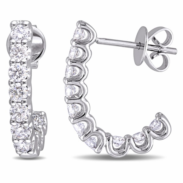 Miadora Signature Collection 14k White Gold 1ct TDW Diamond Semi-Hoop Earrings
